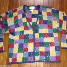 Vtg 80s slouchy patchwork cardigan Sweater large L Fuzzy Knit