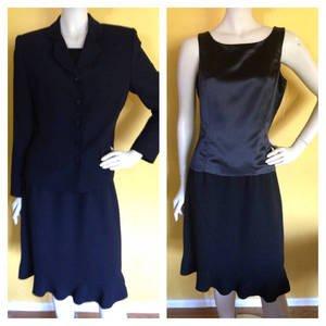 Beautiful AMANDA SMITH 3pc Skirt Suit Satin Cami Jack Blazer Ruffled 8