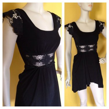 Yoyo5 Bare Midriff Summer Party Dress Top Lace Embellished Micro Mini S Black
