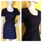 Vtg 80s Little Black Dress Lace Mini Party Cocktail Evening  S Sheath Classic