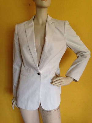 Gorgeous Cream Calvin Klein Sleek Modern Blazer Jacket Career Business 6