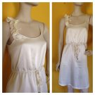 NWT Love Notes Romantic Cream Textured Sun Dress Ruffled Shoulder S
