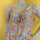 H&M Sheer Retro 60's Style Floral Print Kitten Bow Button Front Blouse Top 6