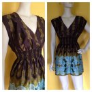 Lily White Satin Mini Dress V Neck Brown Green Blue Paisley Print  M