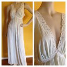 Vtg NOS Miss Elaine Silky Sheer Nylon Low Cut V Neck Maxi Night Gown Mint M NEW