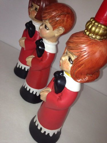 70s Trio Choir Children Christmas Carolers Hand Painted Redhead Candles Holders