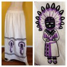 OOAK Vtg 70s Purple Indian Chief Aztec Tribal Print Long Maxi Muslin Skirt 31x41
