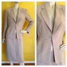 NWT DRESSBARN Skirt Suit Stitch Detail Khaki Beige Jacket 8 Career Business