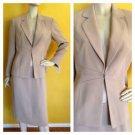 NWT DRESSBARN Skirt Suit Stitch Detail Khaki Beige Jacket 8 Career Business