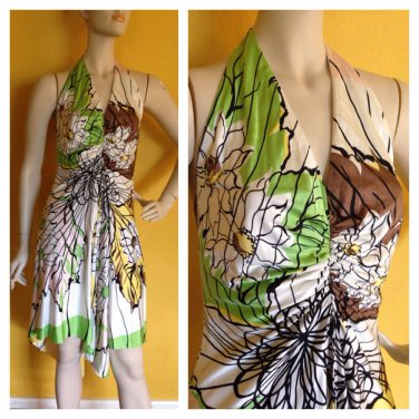 Chetta B 100% Silk Asymmetrical Hem Halter Dress Front Slit Tropical Print 6