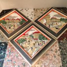 vtg LASZLO Hand Painted Tiles Famous PARIS STREETS Beautifully Framed Set/3