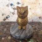 vtg Brass Owl Paperweight With Gray Marble Base Retro Decor
