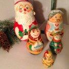 Kurt S Adler Hand Crafted Painted Wood Nesting Santa Mrs Claus Elves w/Box