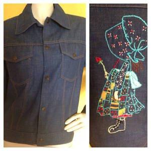 vtg 70s Holly Hobbie Jean Jacket Embroidered Womens S Blue Denim LN OOAK