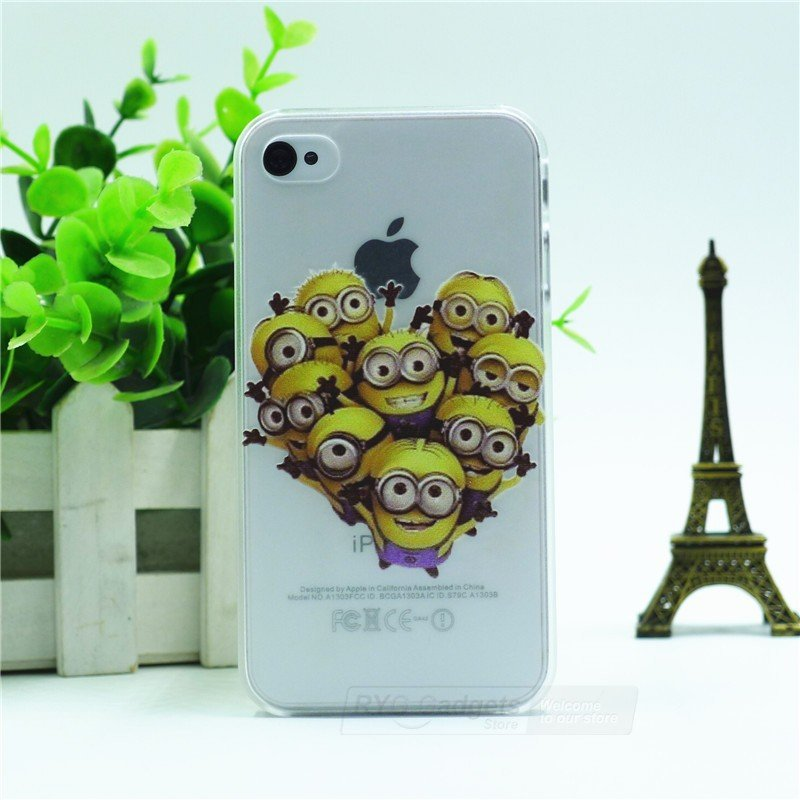 Case For Apple iPhone 4 4S case Transparent Hand simpsons minions eating homer skin