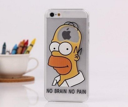 Case For Apple iPhone 4 4S case Transparent Hand simpsons eating homer skin