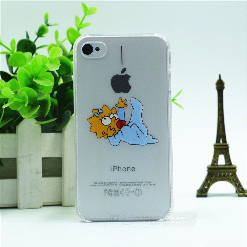 Case For Apple iPhone 6 case Transparent Hand simpsons eating homer skin