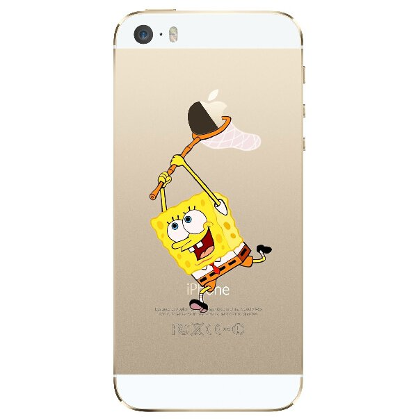 Case For Apple iPhone 6 case Transparent Hand simpsons spongebob eating homer skin
