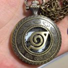 HOT Anime Naruto Vintage Leaf Figure Pocket Watch with Chain Cosplay Collectible