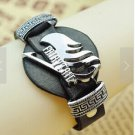 Anime Fairy Tail Badge Black PU Leather Vintage Punk Wristband Bracelet