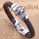 1X Anime Final Fantasy Silver Alloy Badge Brown Knit Unisex Bracelet Wristband