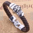 1X Anime Final Fantasy Silver Alloy Badge Brown Knit Unisex Bracelet Wristband