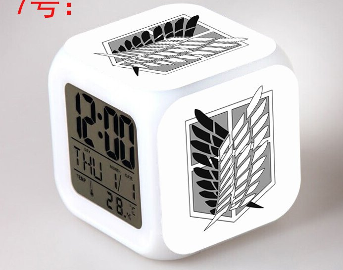 Japanese Anime Attack on Titan the group logo Seven Color Change Glowing Digital Alarm Clock