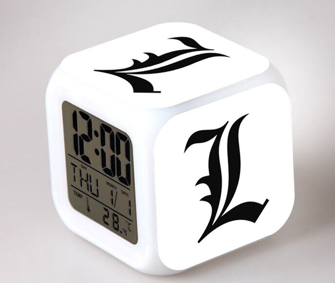 Japanese Anime Death note L Seven Color Change Glowing Digital Alarm Clock