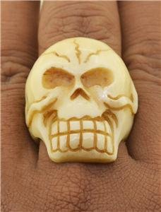 Sz 7.5 Death Skull Ring Carved Organic Water Buffalo Bone RG142 T8753