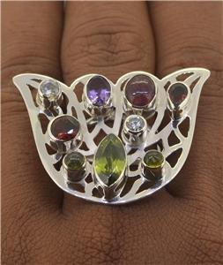 Sz 9.5 Peridot Amethyst Tourmaline Garnet Ring 925 Sterling Silver RG187 L8973