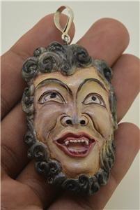 Carved Madusa 925 Silver Bail Pendant Designer Unique Handmade Bali TT107 T8396
