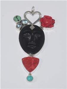 Goddess Face Blue Topaz Turquoise Sterling Silver 925 Pendant PN558 T2730
