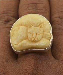 Sz 10 Sleeping Cat Ring 925 Sterling Silver Jewelry with Soul RG36 EFBA443