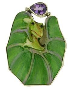 Size 9.5 Frog on Lotus Leaf Ring Amethyst 925 Sterling Silver RG27 EFBA438