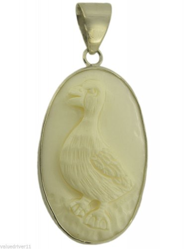 Carved Duck Sterling Silver 925 Pendant PN561 T4206