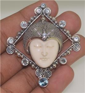 Goddess Face Blue Topaz 925 Sterling Silver Pin Pendant SP607 EFBA430