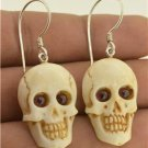 Death Skull Garnet 925 Sterling Silver Earrings Jewelry with Soul EA405 EFBA451
