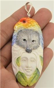 Carved Eagle Bear Spirit Goddess Totem 925 Sterling Silver Pendant TT15 EFBA427