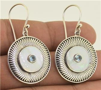 Blue Topaz Mother of Pearl Shell 925 Silver Hook Earrings Bali Jewelry L9356