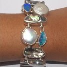Gorgeous Biwa Pearl Opal 925 Sterling Silver Bracelet Jewelry with Soul L0039