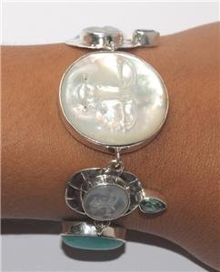 Moon Face Green Quartz  Amazonite Sterling Silver 925 Bracelet BC51 L9948