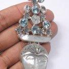 Goddess Face Bali Tray Dulang Blue Topaz Silver 925 Pin Pendant (PN381) L4991