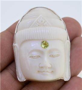 Buddha Peridot 925 Sterling Silver Pin Pendant Jewelry with Soul PN570 EFBA378