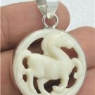 Hand Carved Mini Horse Natural Buffalo Bone 925 Sterling Silver Charm Pendant