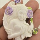 Beautiful ! Goddess Flowers Amethyst Peridot 925 Sterling Silver Pin Pendan EFBA
