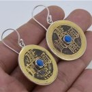 Antique Balinese Brass Coin Lapis Lazuly 925 Sterling Silver Jewelry Earrings
