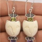Charming Lovely Cute Cat Peridot Amethyst 925 Sterling Silver Jewelry Earrings