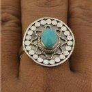 Bali Intricate Design Amazonite Gemstone 925 Sterling Silver Jewelry Ring Size 7