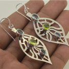 New Fashion Leaf London Blue Topaz Peridot 925 Sterling Silver Hook Earrings