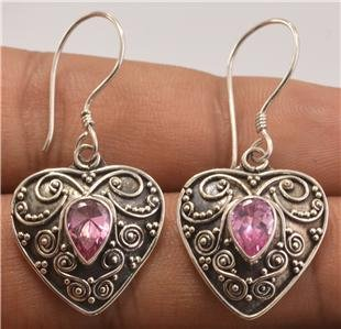 Nice Design Bali Heart Pink Zircon Women Jewelry 925 Sterling Silver Earrings